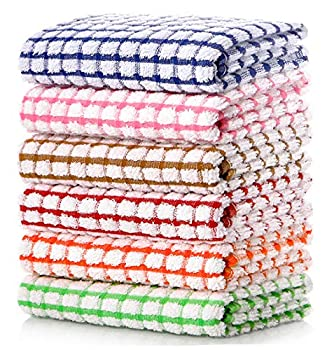 LAZI Kitchen Dish Towels 16 Inch x 25 Inch Bulk Cotton Kitchen Towels 6 Pack Dish Cloths for Washing Dishes Dish Rags for Drying Dishes Kitchen Wash Clothes and Dish Towels