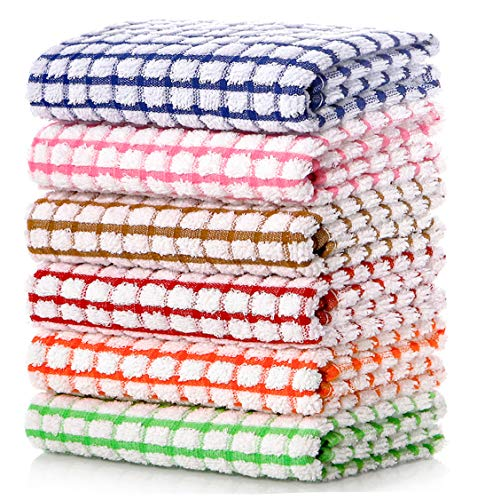 LAZI Kitchen Dish Towels, 16 Inch x 25 Inch Bulk Cotton Kitchen Towels and Dishcloths Set, 6 Pack Dish Cloths for Washing Dishes Dish Rags for Drying Dishes Kitchen Wash Clothes and Dish Towels