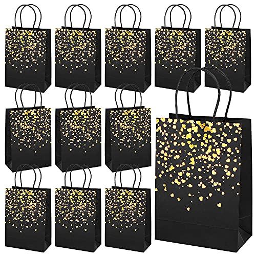 Bolsas de Regalo, 12 Piezas Bolsa de Papel Kraft Bolsas, Bolsas de Papel con Asas, Bolsas Regalo Cumpleaños,Bolsas para Chuches, Fiesta de Cumpleaños Favores Bolsas,para Fiestas,Bodas,Navidad (Negro)