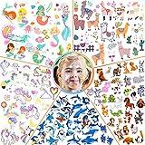 Tatuajes Temporales para Niños Niñas, 50 Hojas Tatuajes Falso Tatuajes de Etiquetas adhesivas Temas de Unicornios, Animales, Tiburones, Alpacas y Sirenas, Cumpleaños de Niños Infantiles Fiesta