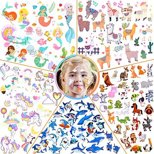Tatuaggi Temporanei per Bambini, 50 Fogli Tatuaggi Set de Unicorno e Animale e Squalo e Alpaca e Sirena, Tatuaggi Finti per Ragazze Ragazzi Tatuaggio Temporaneo Giocattoli per Feste di Compleanno