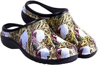 Backdoorshoes Waterproof Premium Garden Clogs with Arch Support-Chicken Print
