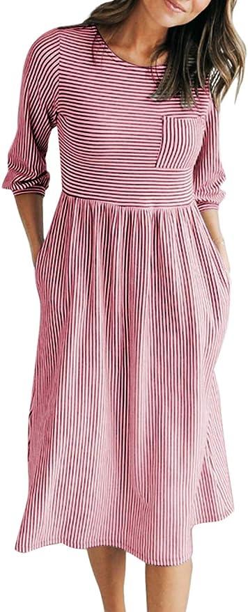 顶级评价中长袖条纹休闲裙,舒适潇洒四季皆宜