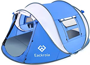 Eackrola Pop Up Tent,3-4 Person Camping Tents 10 Second Instant Setup Tent,4 Ventilated Mesh Windows 2 Mesh Doors Tent Wat...