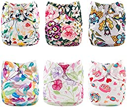 Babygoal Cloth Diaper Cover for Girls,Baby Adjustable Reusable Covers for Fitted Diapers and Prefolds, 6pcs Baby Clothes Covers+One Wet Bag 6DCF04