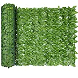 MARTHA&IVAN Faux Ivy Privacy Fence 118x39.3 inches Patio Privacy Screens for Balcony,Faux Hedge Privacy Wall Outdoor (118x39.3inch, Ivy-1)