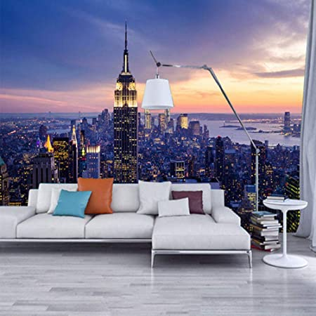 YTJBEI Photo Wallpaper Wall Mural -City Sunset 200 X 170 cm Non Woven Wall Mural Adults and Children Teen´s Room Office for Bedrooms 3D Mural Wall Decoration