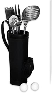 Golf Club BBQ Set - 7 Piece Golf Club Shaped Barbecue Set (Golf Bag, Spatula, Fork, Tongs, Grill Cleaner...)