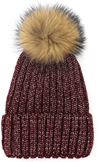 SHENLIJUAN Autumn and Winter Knit hat Warm Bright Silk Thread hat 貉子毛球套头头 (Color : Coffee, Size : M56-58cm)