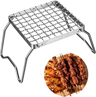 Stainless Steel Portable Mini Camping Grill - Folding Campfire Grillwith Carry Bag for Backpacking Hiking Survival