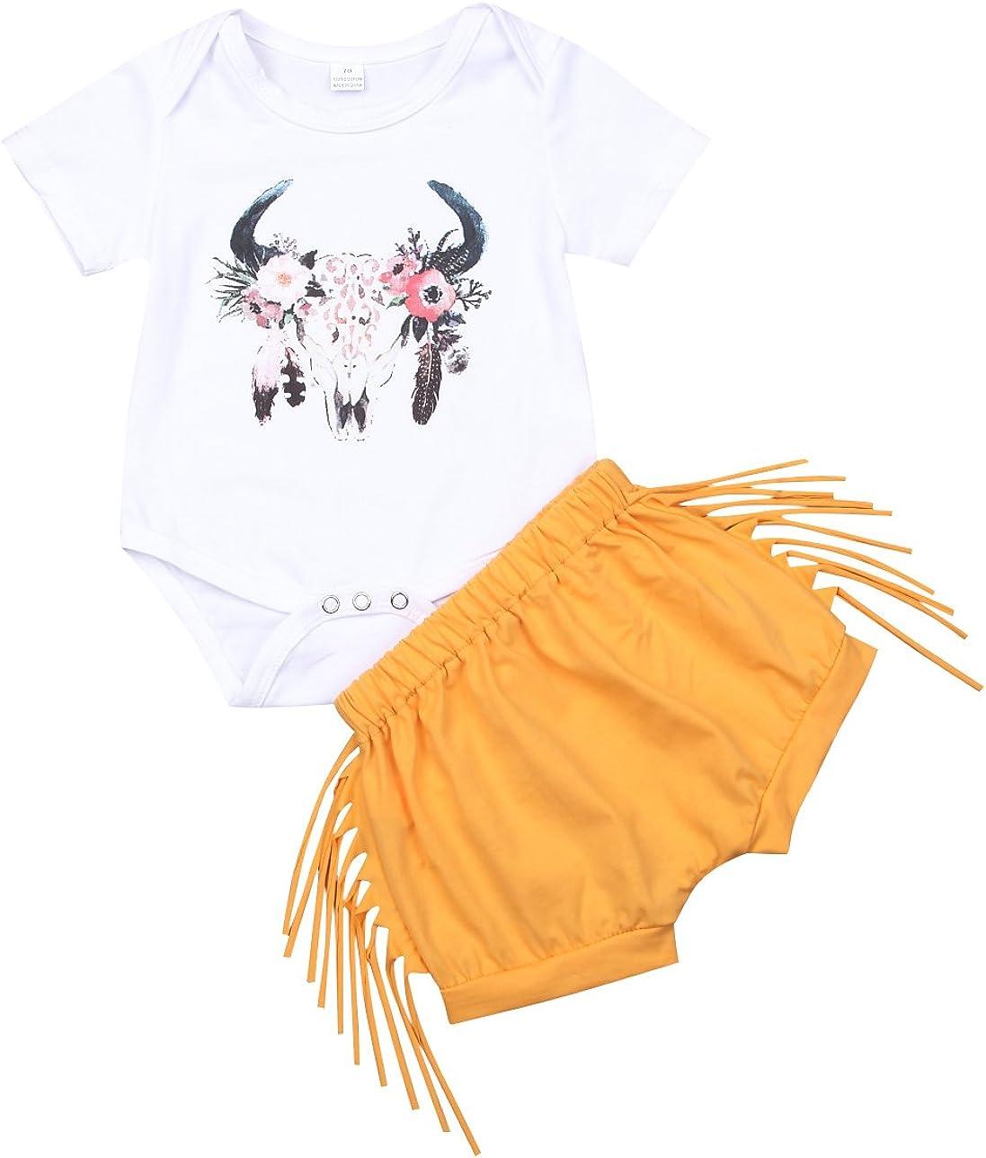 Toddler Kids Baby Girl Deer Short Sleeve Romper Shirt+Tassel Shorts Outfit Set