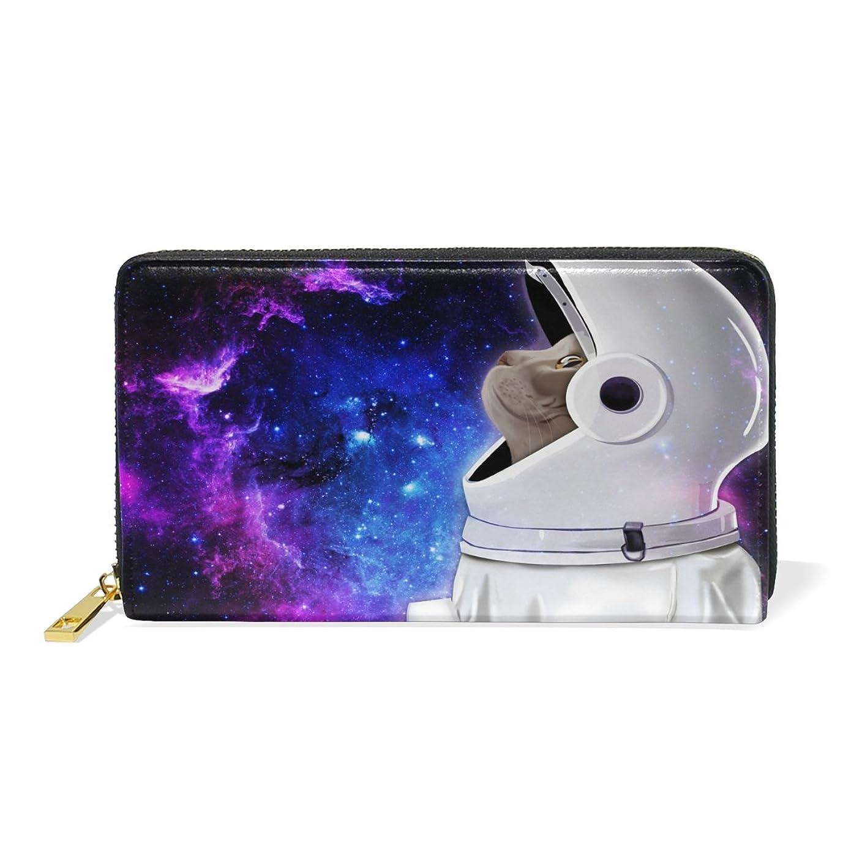 依存する修士号安定マキク(MAKIKU) 財布 レディース 長財布 本革 おしゃれ 大容量 ラウンドファスナー 宇宙柄 かわいい 猫柄 宇宙飛行士 カード12枚収納 プレゼント対応