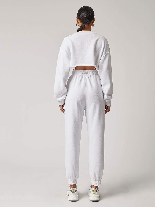 Romwe Women's Casual Long Sleeve Raw Hem Pullover Crewneck Crop Sweatshirt