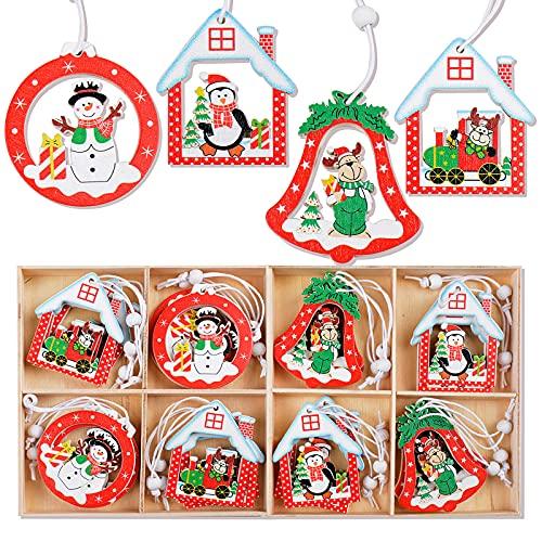 24pcs Colgante Madera de Navidad Adorno Decoración de Árbol de Navidad Colgante Decorativo Colores Renos Muñeco de Nieve Casa de Navidad Decoración para Fiesta de Navidad