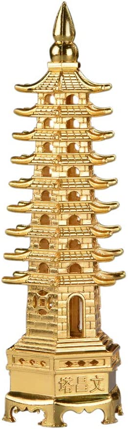 5.1'' Alloy Fengshui 9 Level Pagoda Wenchang Tower Statue Protec