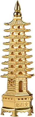 5.1'' Alloy Fengshui 9 Level Pagoda Wenchang Tower Statue Protection Business Rises Desk Decor Collectible Golden Color ZD111