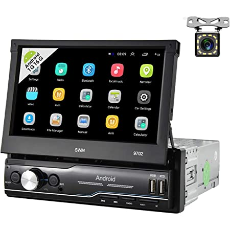 Car Stereo Single Din Android Car Radio Audio Bluetooth 7'' Touch Screen GPS Navigation Stereo Indash Head Unit with FM Radio WiFi AUX-in USB Mirror Link SWC Car MP5 Player + 12 LEDs Rear View Camera