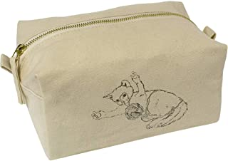 'Cat Playing with Yarn' Canvas Wash Bag / Makeup Case (CS00018439)