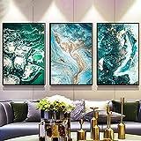 Avdgfr HD Art on Canvas Nature-[3PCS Abstract Wall Painting Blue Green Ocean River Fluid] Canvas Prints for Bathroom-Piece Home Decor Interior Design 40X60cm 3PCS Frameless