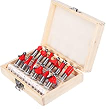 Inditrust 6 mm Router Bit Set 12 Pcs Multi Shape for Router/Trimmer Combo with Wooden Box Specially Designed for Wood Working