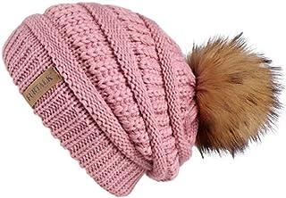 SHXLYN Autumn Winter Beanie Hat for Women Knitted Pompom Hat Slouchy Beanie Skullies for Female Black Red Yellow Bonnet Cap Women's Skullies & Beanies