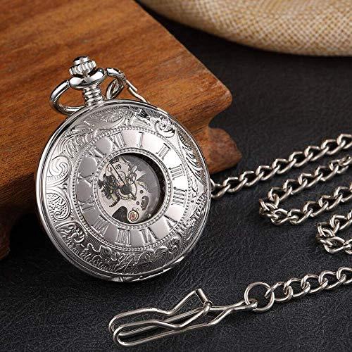 DZNOY Reloj de Bolsillo, Liso 2 Lados Caja Abierta Cadenas mecánicas de Plata de Esqueleto de Plata Clip de Viento para Hombres Mujeres Reloj de Bolsillo (Color : Silver)