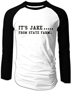 Creamfly Mens IT'S JAKE FROM STATE FARM Long Sleeve Raglan Baseball Tshirt