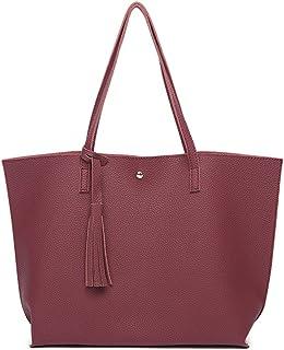 PB-SOAR Damen Mädchen Fashion Shopper Schultertasche Schulterbeutel Henkeltasche Handtasche Einkaufstasche aus Kunstleder 36x30x11cm B x H x T Weinrot