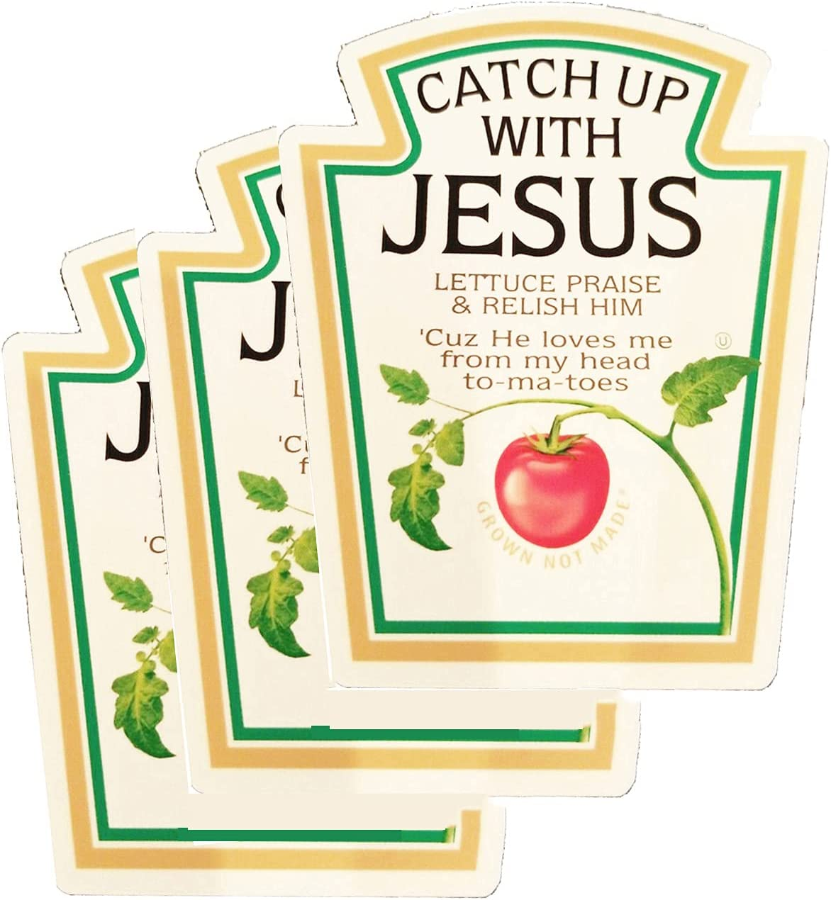 3 Pcs Catch Sacramento Mall Up with Jesus Ketchup Christian Tomato Funny Sticker New products, world's highest quality popular!