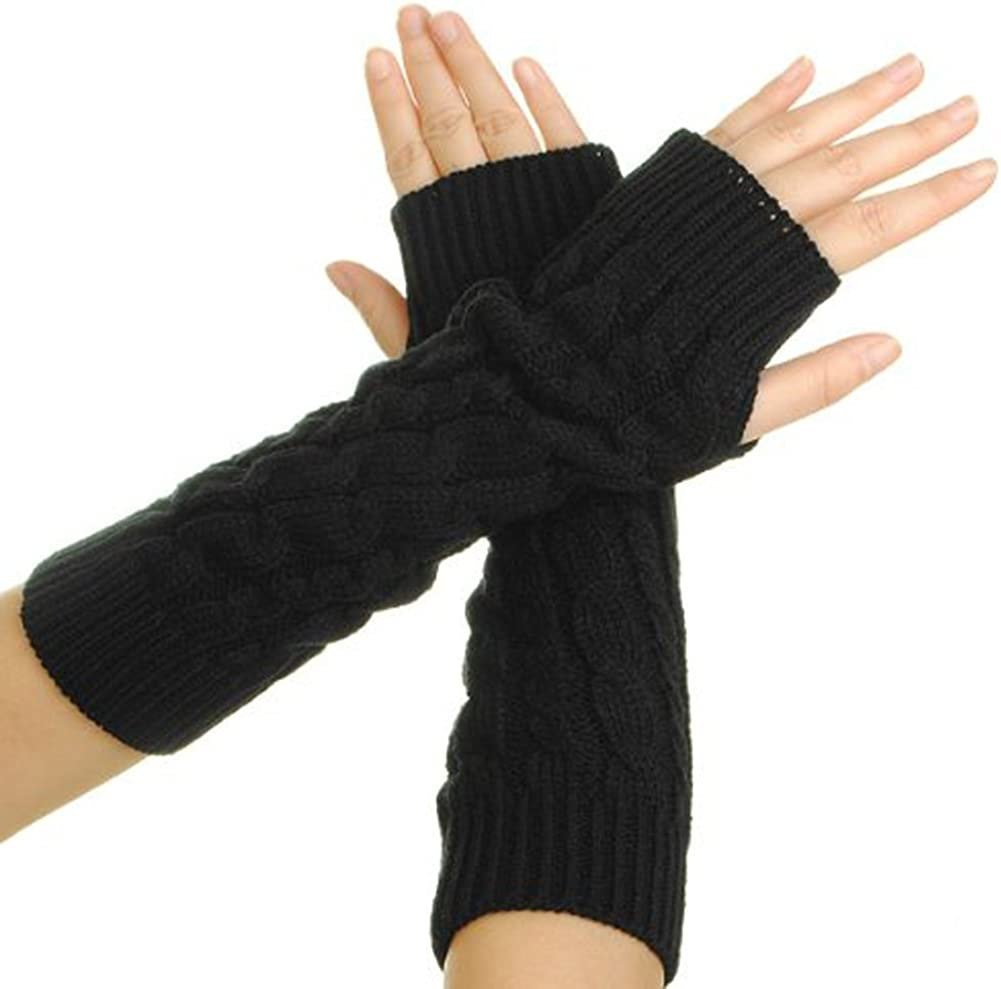 Eforcase Women Lady Girl Knitted Crochet Long Soft Gloves Winter Warmer Braided Arm Fingerless Gloves Stretchy Wamer Knitting Thumb Hole Gloves Mittens Winter Hand Warmer Great Gift For Xmas Black Office Products Amazon Com
