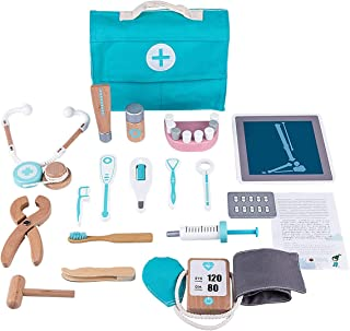 18 Pcs Children Wooden Role Play Pretend Dentist Toolbox Doctor Medical Playset with Stethoscope Early Education Toy BIAOY...