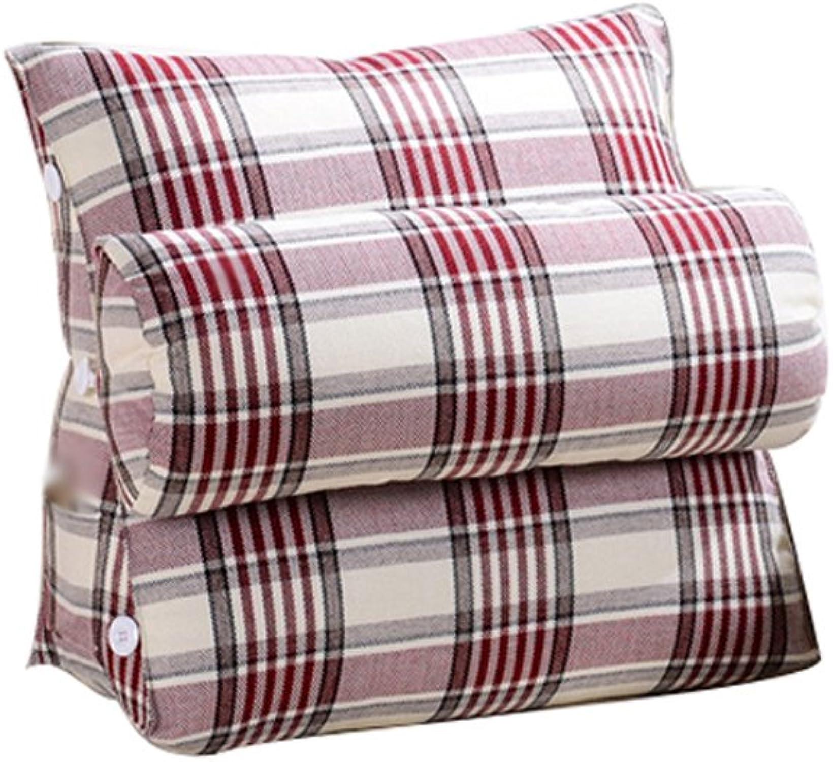X-L-H Triangle Coussinets à Dossier grand En Coton Ajustable, Linge De Lit Canapé Taille Du Col L  H 60X50CM (Couleur   rouge, taille   rayé lattice 60cm)