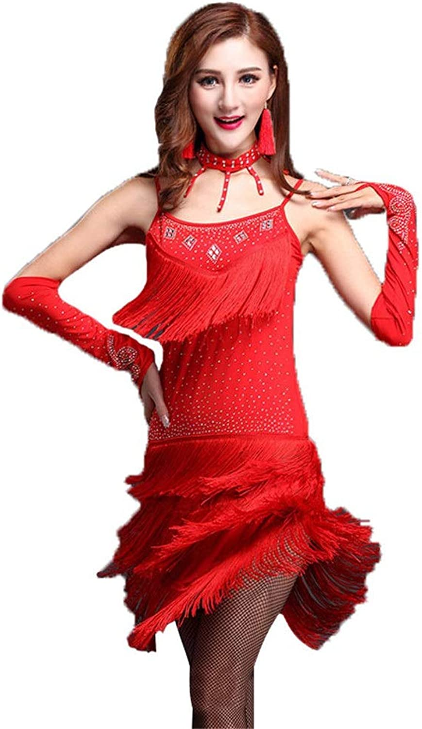 Latin Rumba Dance Dress Women Sleeveless Beaded Tassels Latin Dance Dress with Shorts Outfit Flapper Dance Dresses Costumes Rumba Chacha Tango Ballroom Performance Dancewear (color   Red, Size   L)