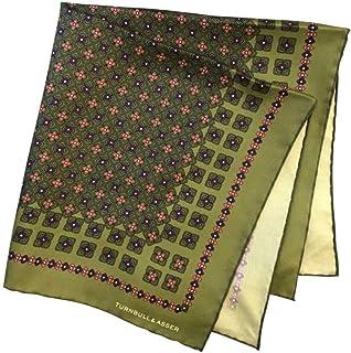 ポケットチーフ シルクチーフ メンズ 紳士 英国製 Silk ターンブル&アッサー Turnbull&Asser 大判 ツイル Green Size45x45cm C015