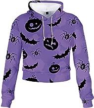 ZEFOTIM Fashion T-Shirts Womens Halloween, Women Halloween Bow Skew Collar Bat Print Patchwork Letter Print Sweatshirt Top