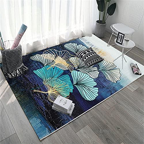 Lavable En La Lavadora Alfombra Salon Ginkgo Hoja patrón Blanco Amarillo Beige Azul púrpura Negro Alfombra Dormitorio Infantil 180X250cm