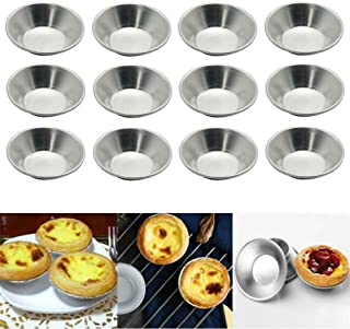 AKOAK Egg Tart Mold Heat Resistant Non Stick Aluminum Mini Pie Cupcake Cake Pan Cookie Pudding Jello Chocolate Molds Tin Baking Tool Baking Cups (12)