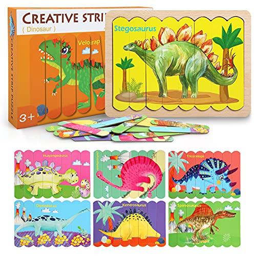 BelleStyle Rompecabezas de Madera para Niños 2 3 4 5 Años, Puzzles de Madera Animales, 32 Piezas 8 Dinosaurio Rompecabezas de Cartón Montessori Juguete - Educativos Juguetes para Pequeños Niños Niñas
