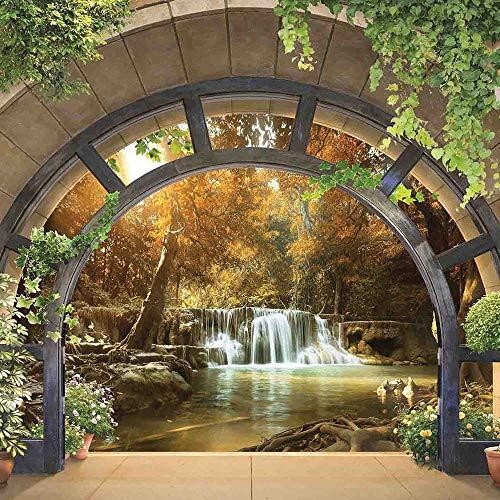 Fototapete Tapete Vlies Latexdruck Wasserfall Fenster Landschaft Natur Wohnzimmer Schlafzimmer UV-Beständig Hohe Auflösung (V8 (368x254 cm) 4 Bahnen)