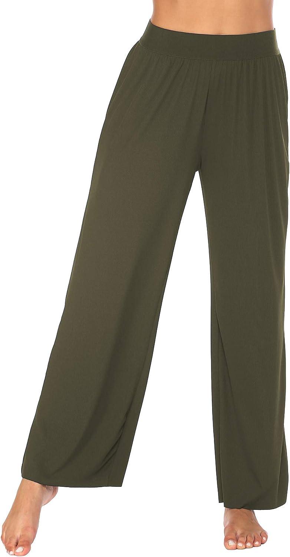 Ekouaer Pajamas Pants Women Wide Leg Baggy Lounge Pants Tie Dye Silk Sleep Bottom Loose High Waist Summer Yoga Pant