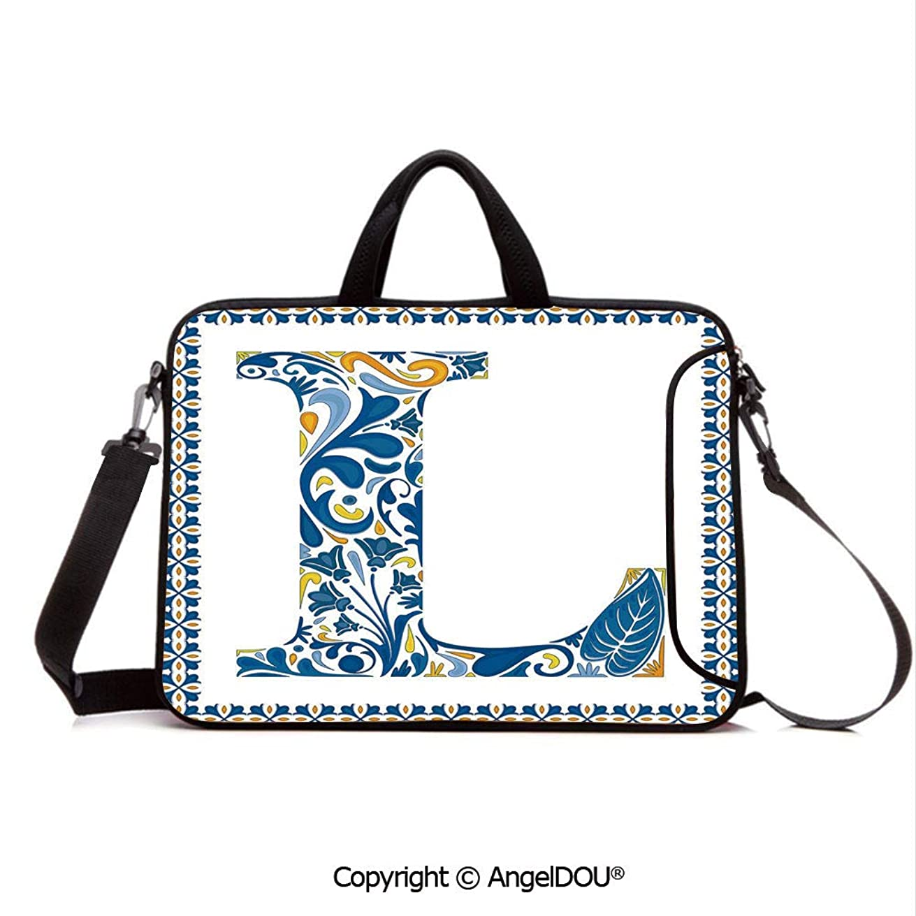 AngelDOU Laptop Shoulder Bag Waterproof Neoprene Computer Case Capital L in Traditional Portuguese Art Abstract Patterned Font Design Decorativ with Handle Adjustable Shoulder Strap and External Sid