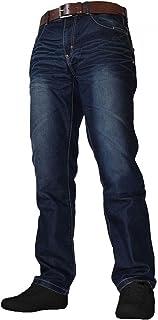 Crosshatch Mens Denim Jeans New Farrow Dark & Light Wash Free Belt Soft Fabric Straight Trousers Leg Pants