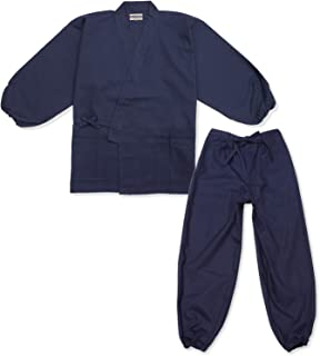 【日本製】 魚子織(ななこおり)作務衣 裾・袖ゴム式 【IKISUGATA】 和粋庵特製巾着付き
