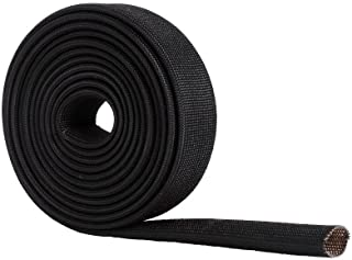 WISAUTO High Temp Black Auto Heat Sleeve Fiberglass Adjustable Heat Shield Black Color 5FT X 20MM(3/4'')