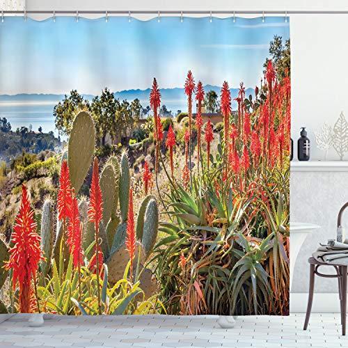 ABAKUHAUS Cactus Douchegordijn, Desert Mountain Foto, stoffen badkamerdecoratieset met haakjes, 175 x 200 cm, Veelkleurig