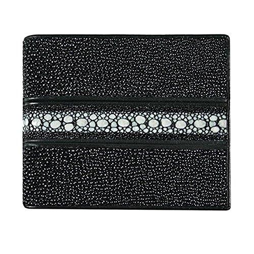Classic Genuine Stingray Leather Bi-Fold Wallet w/Left Flap (Stripped Black)