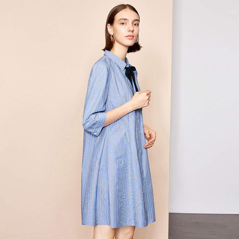 Woman Dress Striped Dress Spring Long Sleeve Loose Small Shirt Shirt Long Skirt Women's Summer