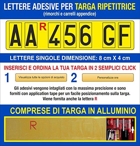 Grafilandia Targa ripetitrice per rimorchi e carrelli appendice, corredata di Lettere e Numeri Adesivi Personalizzati