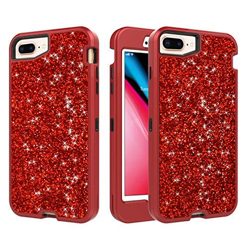 iPhone 7 Plus/8 Plus Case,Heavy Duty Slim Sparkle Bling Glitter Case 3 in 1 Thin Cover Case Shinning Three Layer Full Protective Rubber Bumper Shell with Front Cover for Apple iPhone 7+/8+,Red