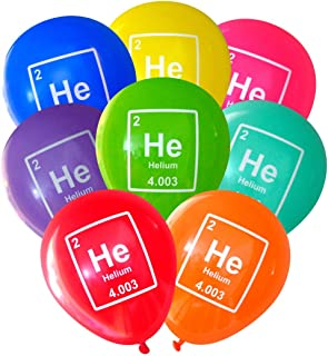 Mad Science Party Balloons - Helium (He) Periodic Table Element (16 pcs, 2-Sided) by Nerdy Words (Assorted)